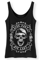 Live Fast Die Last 1989 Tank Top Ladies Womens Skull Biker Top Vest