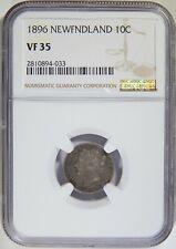1896 Newfoundland Silver 10 Cents NGC VF-35