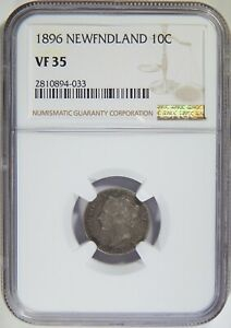 1896 Newfoundland Silver 10 Cents NGC VF-35
