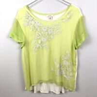 Sundance Large Green Layered Embroidered Short Sleeve Blouse Floral B63