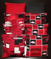 ARKANSAS RAZORBACKS 8 Cornhole Bean Bags BAGGO TOSS Top Quality Handmade! NEW!