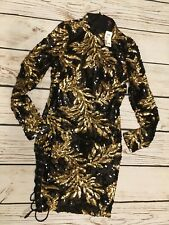 GS LOVE XTAR Gold and Black Long Sleeve Sequin Dress Grommet Slit Small