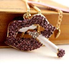 Enamel Betsy Johnson Pendant Jewelry Rhinestone Lipstick Sexy Sweater necklaces
