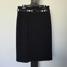 'JACQUI.E' EC SIZE '8' BLACK WITH RED CHECK LINED SKIRT WITH BLACK BELT