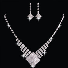 BRIDAL WEDDING PARTY JEWELRY CRYSTAL DIAMANTE SQUARE NECKLACE EARRINGS SET