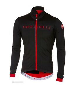 NEW Castelli FONDO Thermal Long Sleeve Full Zip Cycling Jersey : BLACK/RED