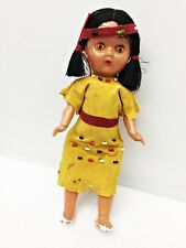 "Vintage NATIVE AMERICAN Indian CELLULOID Girl DOLL 7.5"" Beaded Dress Headband"