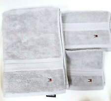 NEW 3 PC SET TOMMY HILFIGER GRAY CLASSIC SOLID COTTON BATH,HAND TOWEL+WASH CLOTH