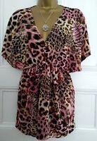 Ladies Plunge Neck Leopard Animal Print Batwing Top Blouse Tunic by Pistachio