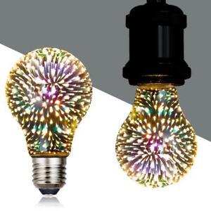 Glass Light Alluminum Colourful Fireworks Edison Bulb 3D LED Vintage E27 P Fast
