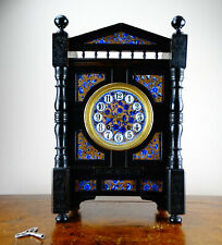 Antique Ebonised Aesthetic Movement Mantel Clock by Lewis Foreman Day c1880