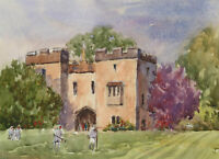 John A. Case - 20th Century Watercolour, Croquet on the Lawn