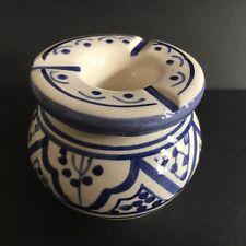 cendrier marocain Bleu Et Blanc anti odeur et anti fumée. D8/H7 NEUF