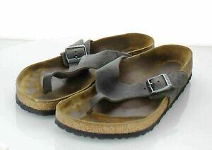 13-13 $125 Men's Sz 45 M Birkenstock Como Nubuck Leather Hard Footbed Sandal