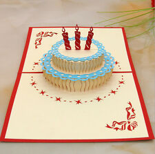 Happy Birthday Cake 3D Popup Greeting Card 10 pcs/lot