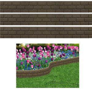3 EcoFriendly Recycled Flexi Rubber Garden Border Edging Brick 1.2M x 15cm Earth