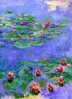"CLAUDE MONET ~ Water lilies red #2 ~ CANVAS ART PRINT Poster ~ 36""X 24"""