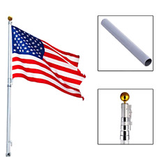 20 ft Aluminum Telescoping Flagpole w/ 1 US America Flag Kit Outdoor Gold Ball