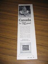 1954 Print Ad Canadian National Railways Hunter & Moose with Big Rack