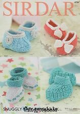 SIRDAR 4734 SNUGGLY BABY BAMBOO DK BOOTEES/SHOES ORIGINAL KNITTING PATTERN