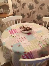 Fryetts Shabby Chic Vintage Floral Patchwork Pink Tablecloth Fabric 1.2m Square