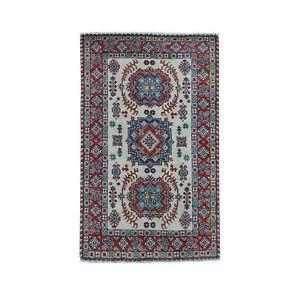 "3'4""x5'6"" Ivory Geometric Design Kazak Pure Wool Handmade Oriental Rug R50705"