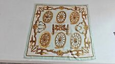 Vintage Hermes scarf foulard Caty Letham, Roues de Canon, silk scarf. 60'