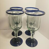 4 Mexican Hand Blown Goblets Cobalt Blue Rim and Base 8 Inches Tall Barware