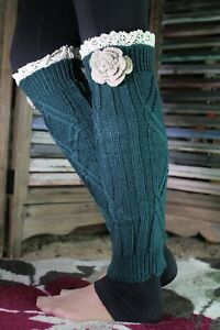 Lace Top Flower Leg Warmers Boot Toppers Cozy Cable Knit Floral Faux Socks