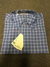 Ben Sherman Spread Collar Long Sleeve Check Shirt/Blue - Medium (Green Label)