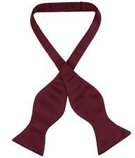 Vesuvio Napoli SELF TIE Bow Tie Solid BURGUNDY Color Men's BowTie