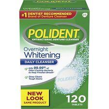 Polident Overnight Whitening Antibacterial Denture Cleanser Effervescent 120 Tab