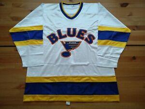 New Pro 48 Lg 1984-85 St Louis Blues Custom Home White Jersey Reverse Retro