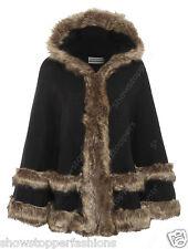 NUEVO mujer en Negro Doble Piel Sintética Capas cálido poncho capa con capucha