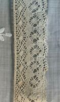 Genuine Antique 100% Cotton Ivory  Lace Trim for Sewing.