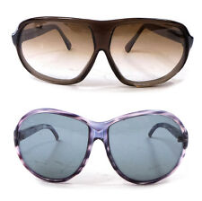 Set of 2 Vintage Olive and Lavender Color Wide Shades Sunglasses ITALY