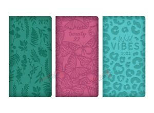 2022 Week To View Diary Slim Size Full Year Padded Embossed Hardback PU Cover