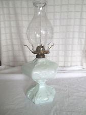 Vintage Fostoria sewing lamp #734 pale green milk glass oil, kerosene lamp