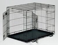 Midwest Dog Metal Crate Double Door Safe Secure Folding Adjustable Divider 42in