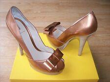 $750 Fendi Shoes Pumps Platform Bow Copper Patent Leather sz 39.5 US 9 NEW