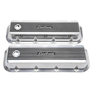 """Edelbrock Engine Valve Cover Set 4275; 3.000"""" Polished Aluminum for 396-454 BBC"""