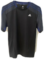 Adidas Men Climacool 365 Short Sleeve Shirt Black And Blue Size SMALL, New