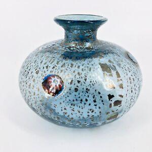 """Vtg Small Murano Art Glass Gold Flake Millefiori Blue Vase 2.5"""""""