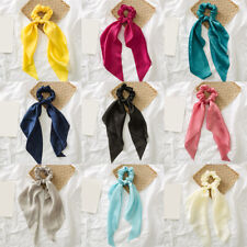 Bow Streamers Hair Scrunchies Women's Solid Color Silky Satin Horsetail Hair Tie
