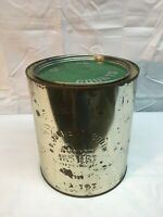 Vintage Jackson Booth  1 gallon Oyster Tin Can with Green Lid Va 197