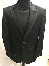 Bnwt Men's Worsted Wool Black Dinner Suit Jacket Blazer Single Breasted 36L
