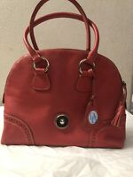 Dooney And Bourke Saffiano Leather Zip Zip Satchel  Orange Red