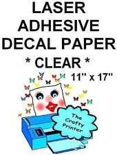 LASER CLEAR GLOSSY  Water Resistant Adhesive Decal Paper - 11x17 - 10 Sheets