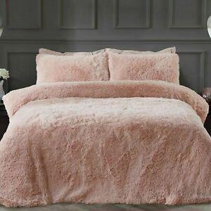 Sleepdown Shaggy fur King Size Duvet Set.. Blush