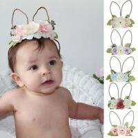 Infant Baby Girl Flower Rabbit Ears Headband Hair wear Photography Prop Charm